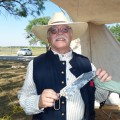 Tad Gose of Wichita Falls displays a bone saw used by surgeons during the late 1800s during Friday's Buffalo Soldier and Frontier Education Day at Lake Arrowhead State Park. Gose is retired from the state park.