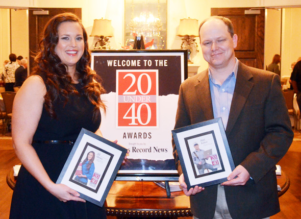 Jill Montz of the Pecan Shed and Matt Kelton of The Pioneer Sentinel were named to the 20 Under 40 Class of 2012 during a banquet Tuesday night.