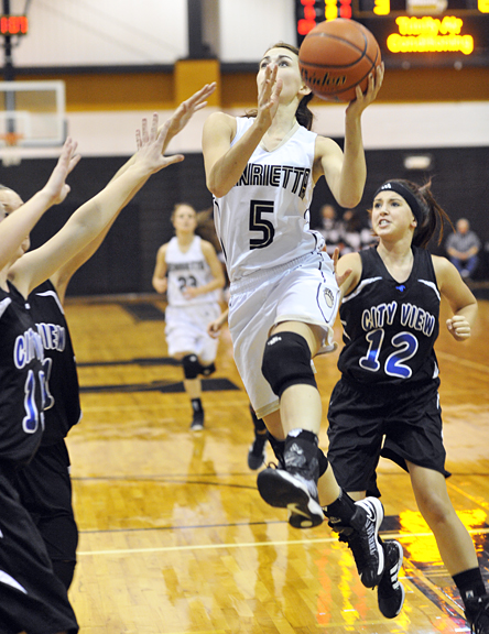 Anni Scholl led the Lady Cats to a 46-27 win over City View Tuesday night.