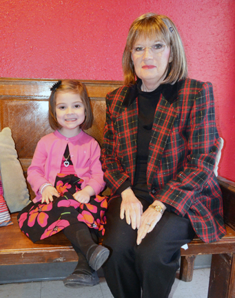 Paula Craft and great-niece Addie Rice are pictured at Leal's Mexican Restaurant, were the family celebrated the 4-year-olds donation of 10 inches of her hair to Locks of Love. Addie donated the hair in honor of Paula.