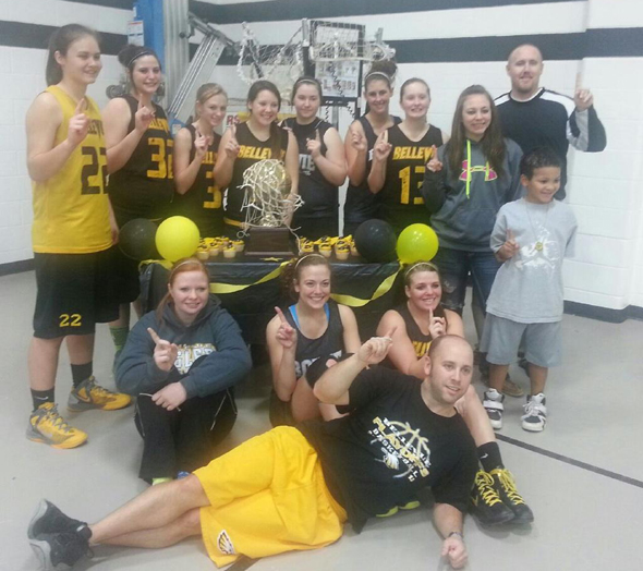Bellevue's Lady Eagles celebrated an undefeated district title by cutting the nets down. The lady Eagles will face Fruitvale in the Area round.