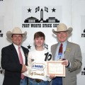 Kolten Beeler with a representative of Rockin' 3B Ranch and Edward Bass, Fort Worth Stock Show chairman. Beeler is sponsored by Bill and Pat Russell of Ransom Canyon.