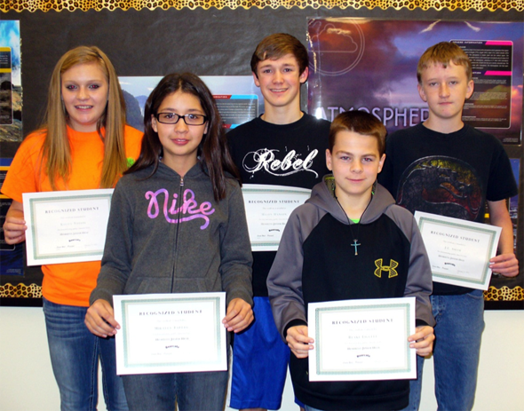 Kelsey Voyles, Mikalya Taptto, Mason Hanson, Blake Liggett, J.C. Smith and Michelle Bennett (not pictured) are Henrietta Jurnior High's recognized student for the fourth six weeks.