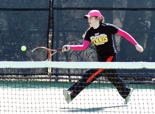 Lady Pirate Hannah Heuring competes in the Holiday ISD Winterblast tennis meet.