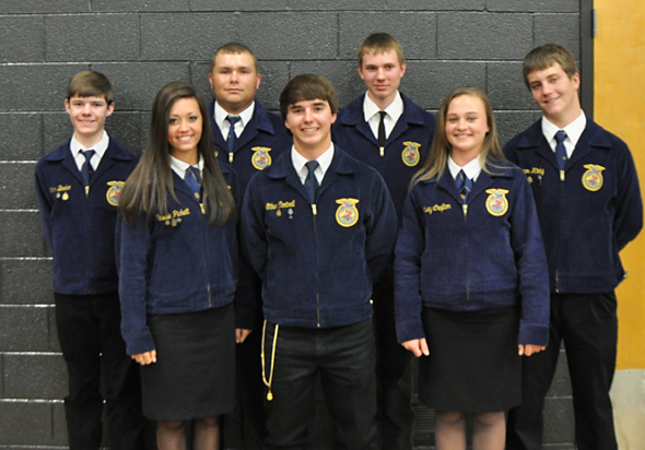 Members who earned top awards during the Henrietta FFA Chapter Banquet are (back) Kolton Beeler, Parker Dunkerley, Justin Koetter, Connor Kirby, (front) Cassie Pickett, Ethan Cantrell and Lindsey Crafton.