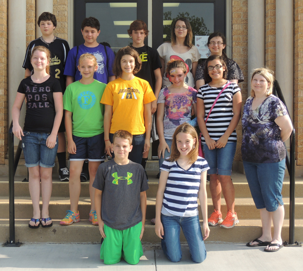 HJH students who have participated in the Read for Life program are (top) Garrett Duncan, Corbin Bloodworth, Chris Offield, Kayla Francisco, Amber Dillaman, (middle) Dakota Cook, Kaitlyn Williams, Kaci Williams, Abby Zamzow, Isabella Garcia, (bottom) Blake Liggett, Leah Bullinger with Librarian Robbin Avenius.