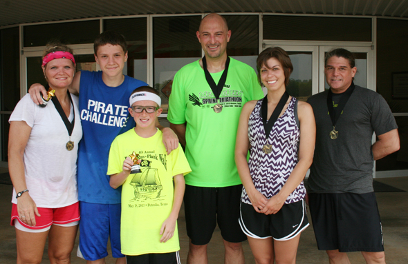 Winners of the 2013 Pirate Run Plank Walk are Becky Mathews, Tyler Mathews, Zy Gravitt, Scott Long, Raquel Long and John McGlone.