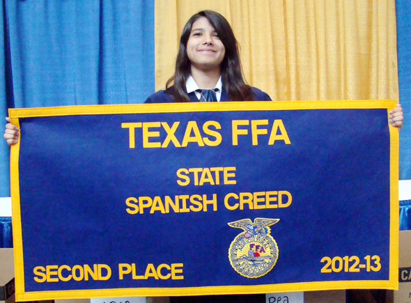 Miranda Flores of the Henrietta FFA placed second in the state Spanish FFA Creed speaking contest.