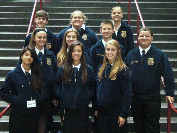 Attending the Texas FFA State Convention in Dallas held July 8-12 are (front) Miranda Flores, Cassie Pickett, Josey Cleveland, (middle) Lindsey Crafton, Macey Baber, Keaton Davis, Klayton Hoff, (back) Kolton Beeler, Makenzie White and Laramie Dunn.