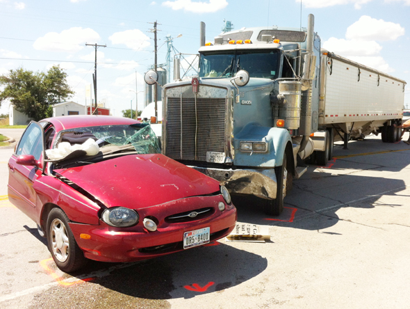 The vehicle of Floradada Moore of Dean was struck by a semi Monday after pulled onto East Omega Street in Henrietta.