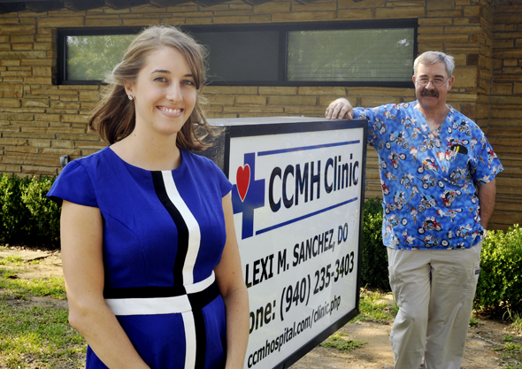 Dr. Lexi Mitchell Sanchez, with her father, Dr. Michael Mitchell, at the CCMH Clinic.