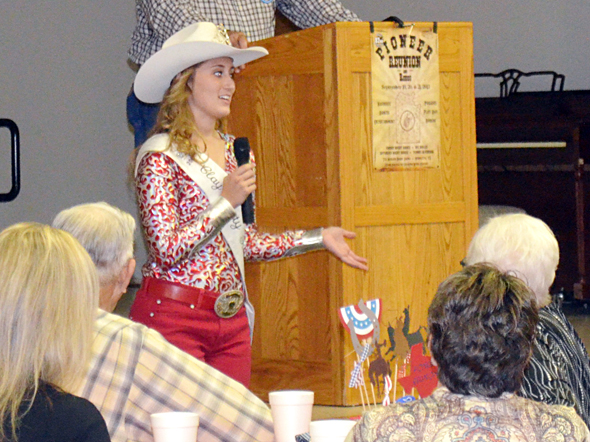 Josey Cleveland, reigning Pioneer Reunion Rodeo Queen, speaks during the annual Pioneer Reunion kickoff luncheon Monday.
