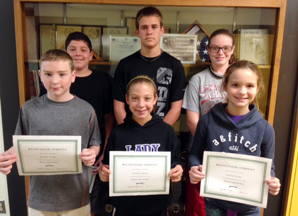 HJH Recognized Students for the first six weeks are (front) Robby Story, Addison Hoff, Jaycie Goin, (back) Josh Patin, Trey Essler and Mackenzie Cavazos.