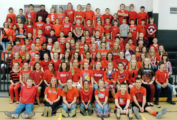 Students at Henrietta Junior High wore red to show their support for Red Ribbon Week Tuesday.