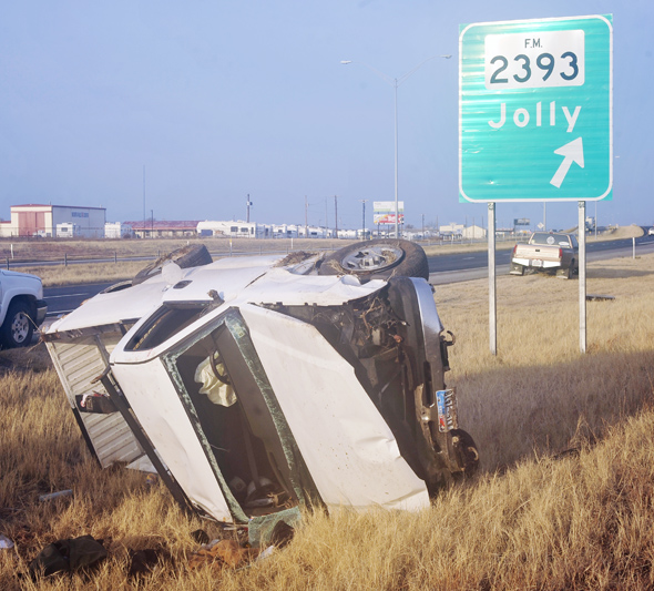 Clarence Muehlberger of Wichita Falls was injured in a one-vehicle rollover THursday morning near Jolly.