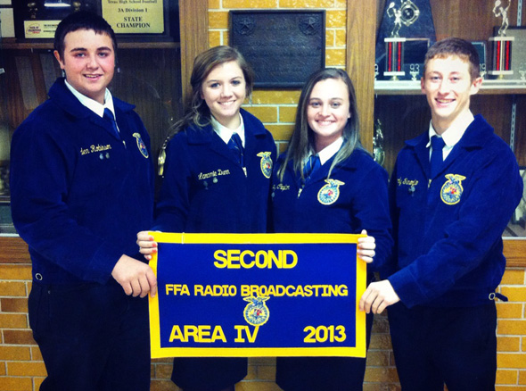 Henrietta FFA's broadcasting team of Caden Robinson, Laramie Dunn, Lindsey Crafton and Rody Fenoglio has qualified for state competition.
