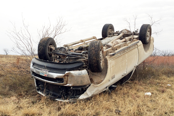 Weather is believed to have caused a one-vehicle rollover east of Henrietta Thursday morning.