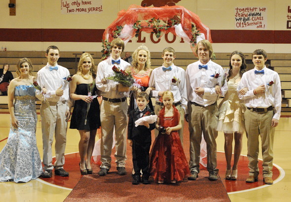 Members of the Midway homecoming court are Kasey Taylor, Ryan Terry, Harlee Hickman, Jorden Mass, Queen Cassidy Mass, Tristan Franke, Jared Campsey, Marley Tate and Logan Harper.