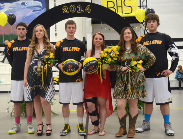 Brandt Cassetty and Destiny Watkins (center) were named Bellevue Homecoming King and Queen Jan. 28. Also nominated were (from left) Matthew Belcher, Maddy Terry, Cassidy York and Bryson Booker.