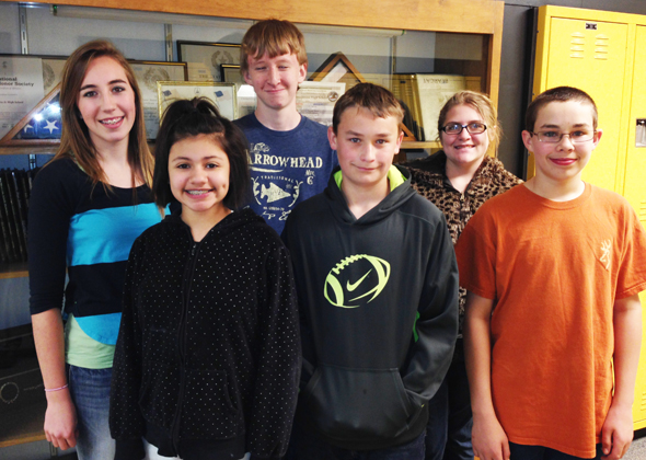 Henrietta Junior High students Lindsey Trent, Daniela Garcia, J.C. Smith, Cade Johnson, Maegan Kelly and Daniel Koetter were recognized for their efforts during the fourth six weeks.