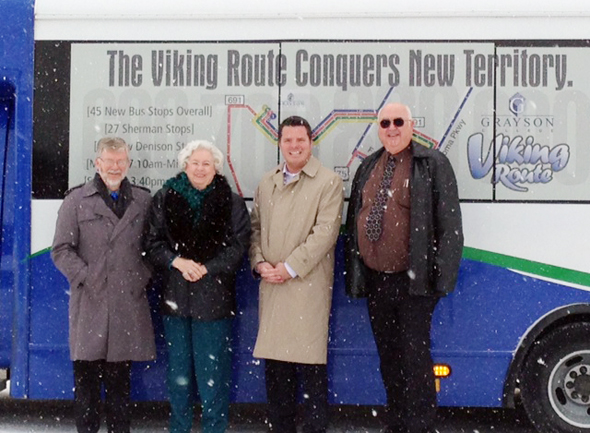 TAPS Public Transit Sytem CEO Brad Underwood was in Henrietta with Joan Schaffner and County Judge Kenneth Liggett, both member of the TAPS board of directors, Monday to announce a new express route from Nocona to Wichita Falls.