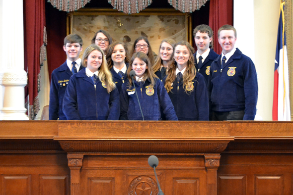 Henrietta FFA members Kolton Beeler, Brianna Swaney, Kayla Francisco, Laramie Dunn, Casey Gill, Madeline Koetter, Josey Cleveland, Macey Baber, Connor Duncan and Luke Brock participated in the Texas FFA Day at the Capitol.