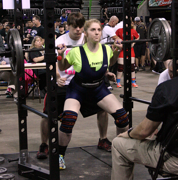 Hanna Heuring of Petrolia competes in the squat at the THSWPA state meet.