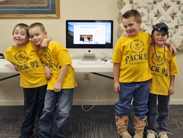 Participating in Tuesday's Tiger Cub meeting were Trent Meadows, Ben Kelton, Cole Cassaday and Randall Capps.