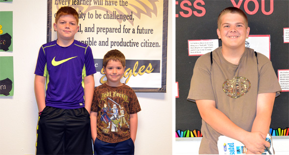 Chase Corwin and Levi Hellinger earned the Bellevue ISD Exemplary Eagle awards for the fifth six weeks, while Colin Kollman was named winner of the Shark Award.