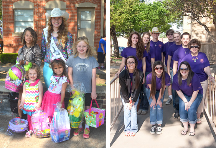 Winners of the 2014 citywide Easter egg hunt are Heather Davis, Lilly Gunter, Mary Dale Marketic and Harley Fletcher, pictured with Clay County Pioneer Reunion Rodeo Queen Mikayla Graham. Henrietta High School PALS Cassie Pickett, Kristen Riddle, and McKenna Seward. In the back are Anni Scholl, Josey Cleveland, Keaton Davis, James Duke, Addison Wade, Matthew Mitchell and sponsor Connie Johnson collected donations, filled and hid eggs, making the annual citywide Easter egg hunt possible.