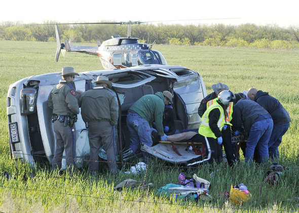 Clay County EMTs and first responders from Dean-Dale and Jolly VFDs used the Jaws of Life to remove a Wichita Falls woman from wreckage Tuesday morning.