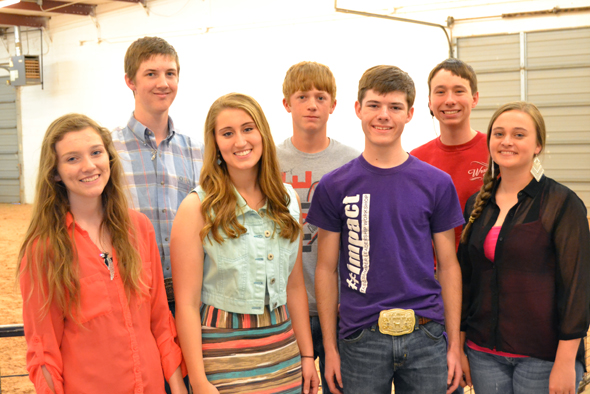 Earning scholarships through the 2013 Fort Worth Stock Show and Rodeo Calf Scramble program are (front) Masey Baber, Josey Cleveland, Kolton Beeler, Lindsey Crafton, (back) Skee Burkes, Austyn Jones, and Corby Henry-Morrison.