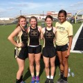 Hollie Thomas, Joyana Zamzow, Kenzie Kirk and Kamryn Weaver set a Henrietta High School record in the 1,600-meter relay during Friday's area meet at Clyde.