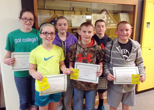Macie Frederick, Baylee Pierce, McKayla Weaver, Garret Jackson, Seth Sanderson and Wilson Moore have been selected as recognized students at Henrietta Junior High.