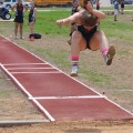 Lady Cat Joyana Zamzow competes in the triple jump at the District 8-2A track meet.