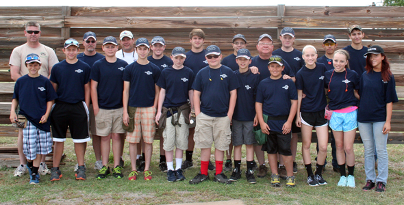 Clay County 4-H Trap team members are (back) Coach Chris Riordan, Coach Don Barry, Coach Scott Hunter, Adam Moore, Leo Hunter, Mason Barry, Coach Elvin Clayton, Tyler McMurry, Garrett Tice, Ethan Gregory, (front) Bryce Sikes, Matthew Watson, Clay Streeter, Daniel Wimberley, Robby Story, Trace Arnhold, Gage Hunter, Trent Tice, Lizzie Riordan, Caroline McDonnell and Michaela Hedrick.