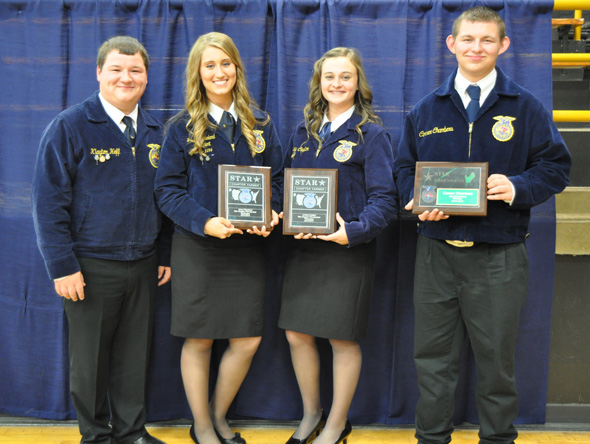 Klayton Hoff, winner of the DeKalb Outstanding Senior and Chapter Leadership Awards; Josey Cleveland, Lindsey Crafton, Star Chapter Award winners; and Conner Chambers, Star Greenhand.