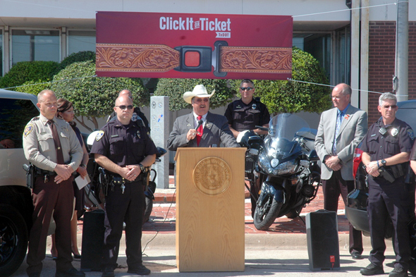 Clay County Sheriff Kenny Lemons spoke at a recent 'Click it or Ticket' kickoff event in Wichita Falls.