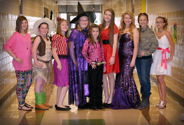 Hailey Talley, Mallory Fredrick, Madeline Catron, Katie Yurcho, Layton Graham, Jacobi Reynolds, Mikayla Graham, Kalico Burkes and Korri Franke represented Clay County in the 4-H District 3 fashion show. Cotron won the Cotton Award.