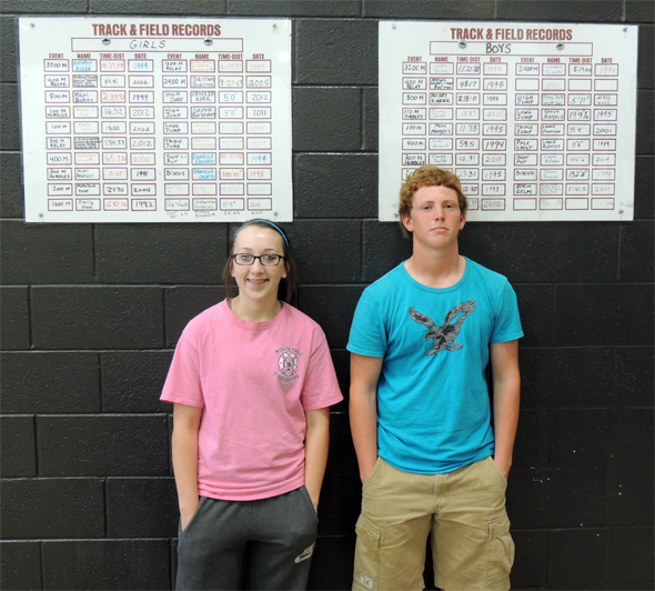 Mallary Bloodworth and Logan Kelsey set school records in shot put at Henrietta Junior High.