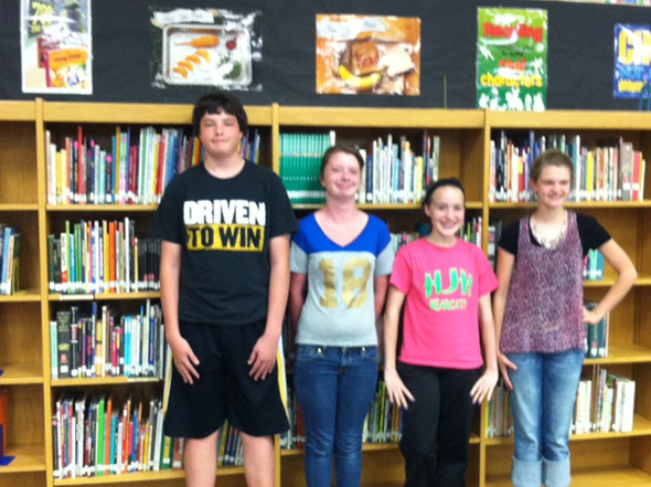 Participants in the HJH Lone Star Book Reading Contest are Dakota Cook, Garrett Duncan, Leah Bullinger, Camrin Byers and Kenny Bender (not pictured).
