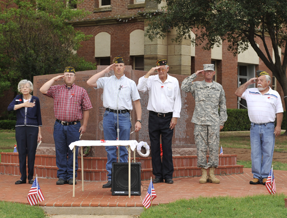 Officers of Bucky Boyd 5401 of the VFW perform the Veterans' Day ceremony to honor Clay County's servicemen who died while fighting in conflicts around the world.