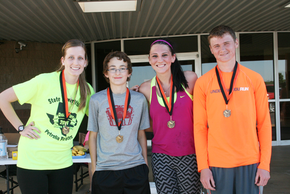 Kayla Hendrix and Keaton Rosamond took first place in the Petrolia Pirate Run Plank Walk 5k race, while Samantha Tucker and Josh Mathews earned first in the 10k race.