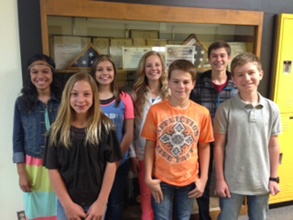 2014 Henrietta Junior High Student Council: (Back) Emily Longoria, April Elliott, Kalico Burkes, Daniel Wimberley, (front) Addison Hoff, Blake Liggett and Holice Holbert.