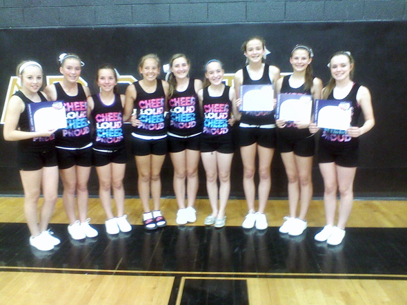 Henrietta Junior High cheerleaders Caroline McDonnell, Kirsten Ervin, Baylee Pierce, Kynlea Stewart, Kynlee Freeland, Leah Bullinger (mascot), Audrey Gallagher, Rachell Morrow and Alexis Roberts attended a National Cheer Association Home Camp on June 3-4.