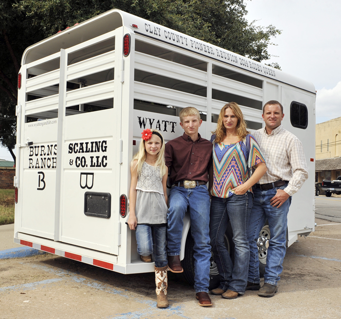 Courtney and Kyle Wyatt, with children Kamryn and Kyler, own and operate Wyatt Engineering and Fabrication, a Deer Creek company responsible for the 2014 Pioneer Reunion Rodeo Queen's trailer.