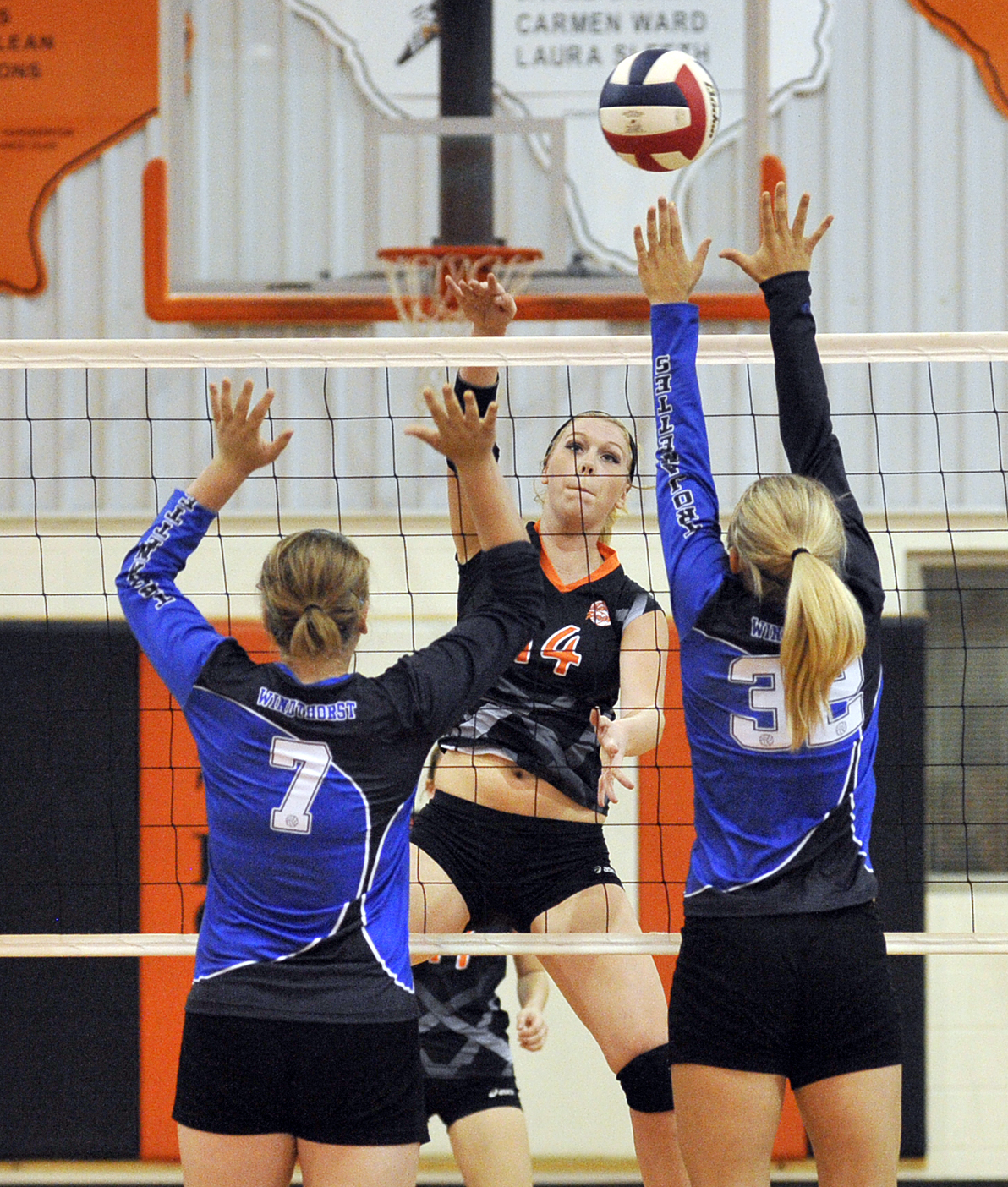 Brittney Ablia sails a spike past Windthorst's front row Saturday. The junior Lady Pirate led Petrolia to a three-set win over Bryson on Tuesday.