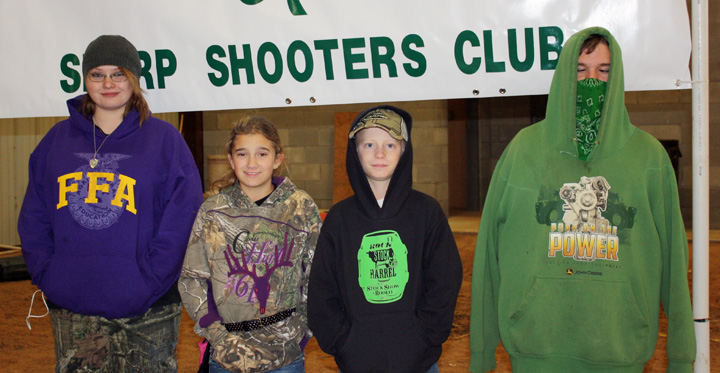 Clay County 4-H members who competed in the Cooke County 4-H Sharp Shooters Indoor Archery Tournament are Nicci Moore, Jayla Thomas, Bodee Franke and Joe Moore.