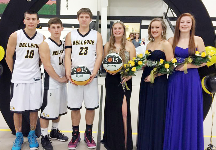 Members of the 2015 homecoming court for Bellevue High School are Emilio Mendoza, Jakob Watkins, King Broc Terry, Queen Devon Cassetty, Emily Trail and Alyssa Corwin.