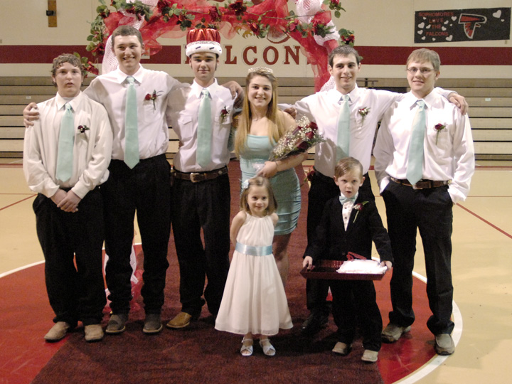 Members of the 2015 Midway High School homecoming court are Larry Hilbers, Rowdy Terry, King Jayson Castle, Queen Erin Armstrong, Austin Thorn, Hunter Lynn, Flower Girl Briana Johnston and Crown Bearer Grady Rater.